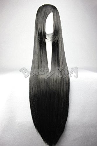 100cm 40'' Black Long Straight Wigs Anime Cosplay Women Ladies Wig Oblique Bangs Fringe Lace Cap Heat Resistant Synthetic Hair