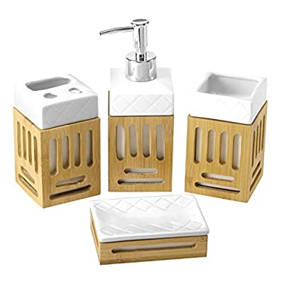 4-Piece Natural Bamboo Wood & White Ceramic Bathroom Accessories Set -  - bathroom-accessory-sets, bathroom-accessories, bathroom - 41BR3xLbkaL. SS400  -