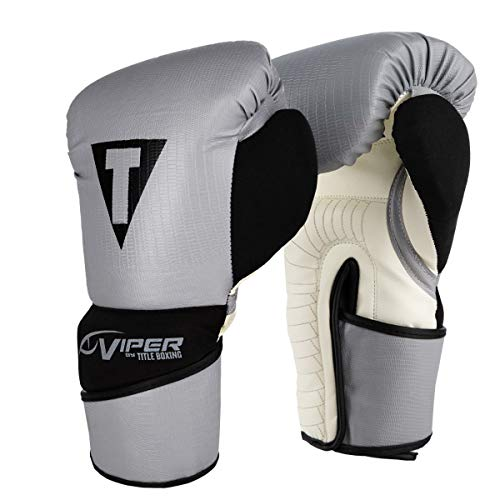 Title Boxing Viper Training Gloves, Grey/Black, 16 oz