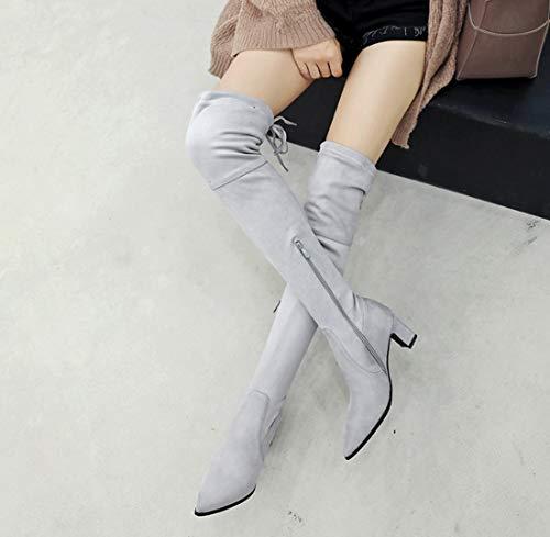 Stretch Gris Femmes Hiver Dandanjie Chunky Bottes Chaussures Automne Genou Talon 2018 Sur Le 7qdEFdv