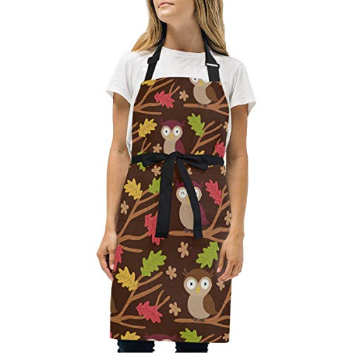Toddy Astridd Fallen Leaves and Owls Adjustable Bib Apron with 2 Pockets Waterdrop Resistant - Extra Long Ties, Home Baking or Kitchen Cooking