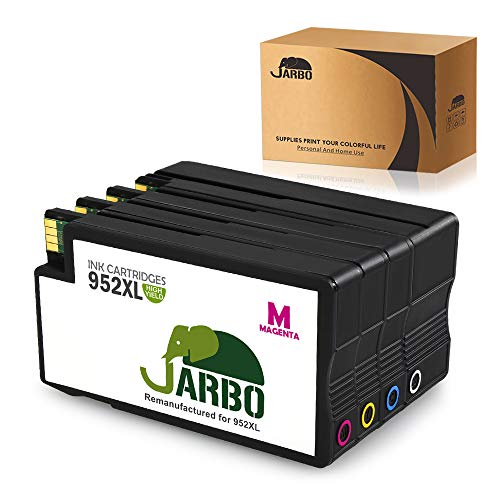 JARBO 952XL Remanufactured for HP 952 Ink Cartridge High Yield 4 Packs1 Black 1 Cyan 1 Magenta 1 Yellow Use in HP OfficeJet Pro 8710 8720 8730 8740 7740 8210 8216 8218 8715 8725 Printer