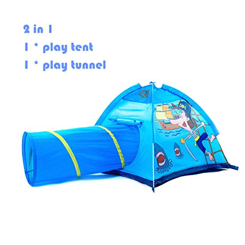 Childrens Indoor Playhouses (Kids Tent 2 in 1 Play Tent with Pop-up Crawling Tunnel Set ,Pirate Playhouse for Children Indoor and Outdoor Fun,Easy to Folding back with Storage Carry Bag)