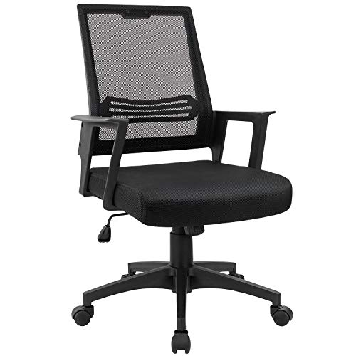 Devoko Office Chair Ergonomic Mid Back Swivel Mesh Desk Chair Height Adjustable Lumbar Support Computer Chair with Armrest (Black)