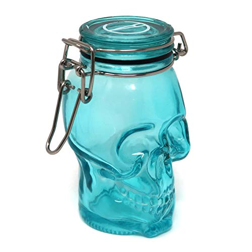 Skull 100mL Colored Glass Airtight Container (Turquoise) ()