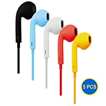 Gadget.Cool Stylish Color Earbuds w/ Mic - Wholesale Bundle of 5 Pairs, In-Ear Earbuds, w/ Microphone and Volume Control, Affordable and Economic , w/ Extra Gift