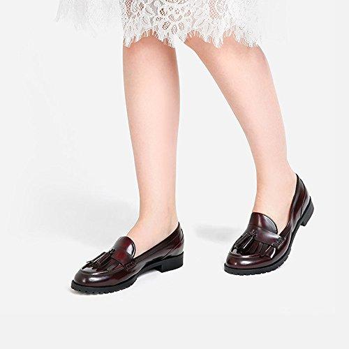 YQQ Rétro Gland Talons Bas Chaussure Simple Femelle Sandales Pour Femme Tête Ronde Dame Fille Décontractée Confortable Des Soirées Commerce (Couleur : Noir, taille : EU38/UK5.5) Vin rouge