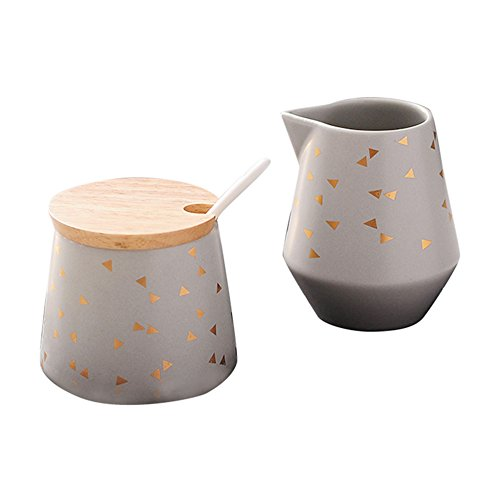 Colias Wing Kitchen&Home Decor Geometric Pattern Stylish Design Ceramic Coffee Milk Creamer Pitcher Frothing Jug & Sugar Bowl with Lid Set-Grey(Set of 2)