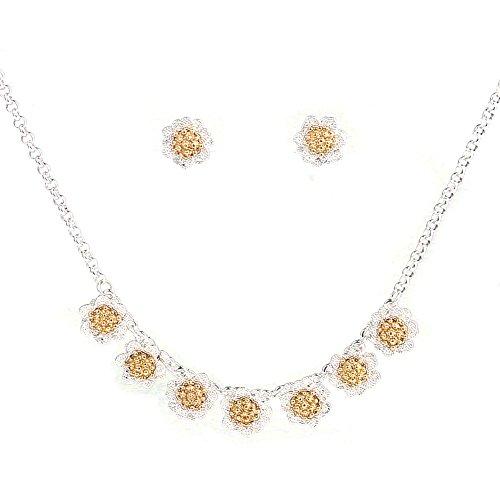 Flower Necklace Set, Filigree Enamel Flower Statement Pendant Necklace Earrings Jewelry Set (Silver)