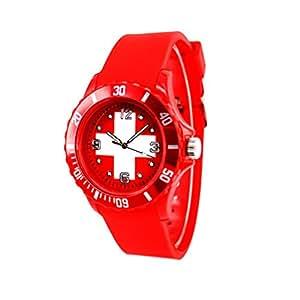 Republe Hombres de las mujeres de los hombres Unisex Deportes Bandera Estilo Reloj Pulsera de cuarzo reloj de pulsera de Silicona en forma de cinta redonda