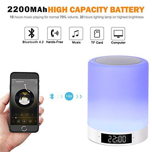 Nachttischlampe Bluetooth Lautsprecher Stimmungslicht Touch mit FM Radio Wecker