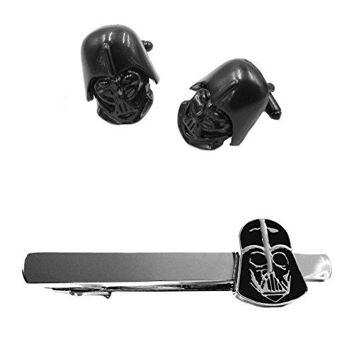 Outlander Darth Vader Helmet Cufflink & Darth Vader Tiebar - New 2018 Star Wars Movies - Set of 2 Wedding Logo w/Gift Box