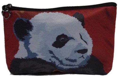 - Cosmetic Bag, Zipper Pouch - Zip-top Closer - Taken From My Original Paintings - Animals (Panda - Pensive Panda)