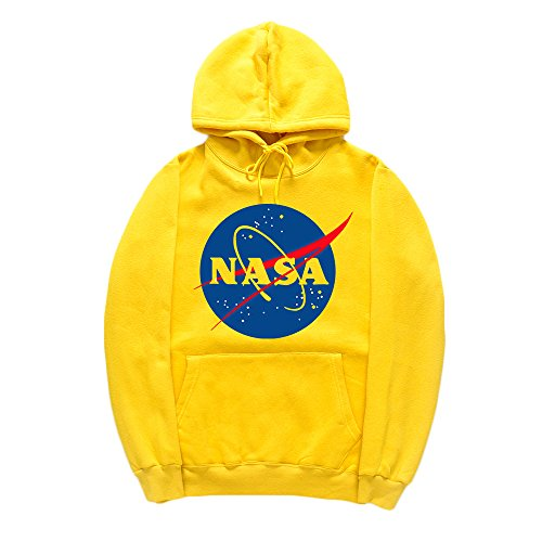 CORIRESHA Fashion NASA Logo Print Hoodie Sweatshirt with Kangaroo Pocket