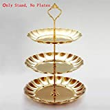 LEI LEI WU 2/ 3Tier Stainless Steel Round Cupcake Stands Wedding Birthday Cake Stand Display Tower (Plates are NOT Inlcuded) Gold 3 Layer