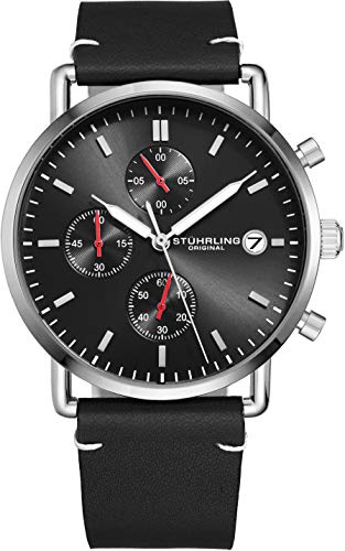 - Stuhrling Original Chronograph Mens Watch Leather Watch Band Silver Dial with Date Minimalist Style 38mm Case - 3903 Watches for Men Collection (Black/Silver)