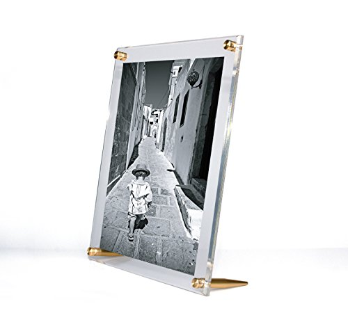 Diamond Polished Bevel Edge Tabletop Acrylic Floating Frame with Gold Hardware for Up to 8x10-Inch Art & Photos ()