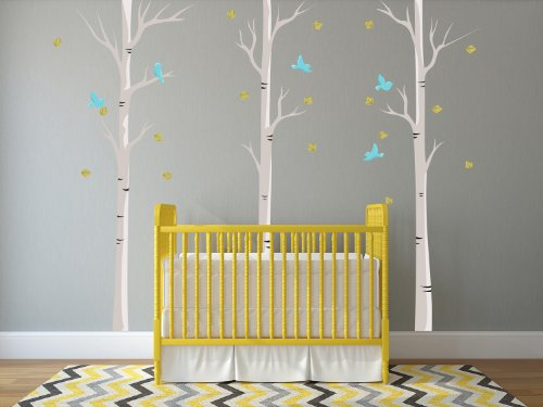 Sunny Decals Birch Trees Fabric Wall Decals with Birds and Leaves (Set of 3)