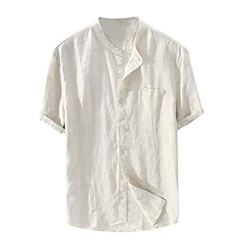 EOWEO Men Summer Blouse T-Shirt Blouse 2019d Men's Baggy Cotton Linen Solid Color Short Sleeve Retro T Shirts Tops Blouse (XX-Large,Khaki)