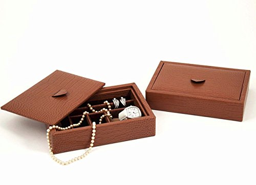 """JEWELRY BOXES - """"PALAIS ROYALE"""" BROWN EMBOSSED """"CROCO"""" LEATHER JEWELRY BOX"""
