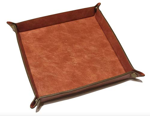 Saranama Valet Tray, PU Leather, Catchall, EDC Tray for Mens Jewelry, Mens Accessories ()