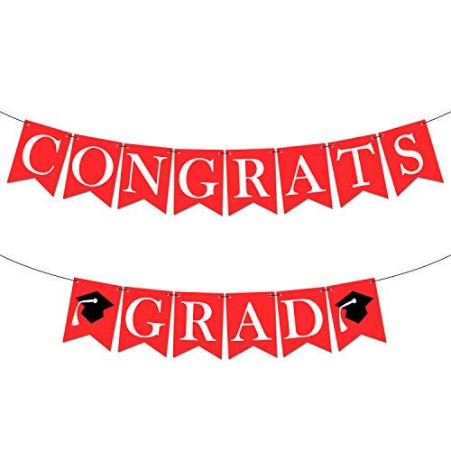 Congrats Grad Graduation Banner - Assembled - Red Graduation Party Supplies 2019   Graduation Decorations Red and White Banner Sign for College Grad Nursing, Nurse Party Décor  Congratulations -