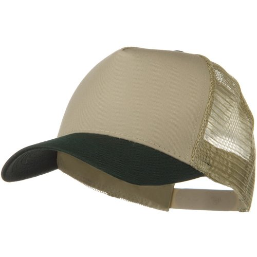 Otto Caps Two Tone Cotton Twill 5 Panel Mesh Back Cap - Dark Green Khaki - 5 Panel Twill Structured Cap