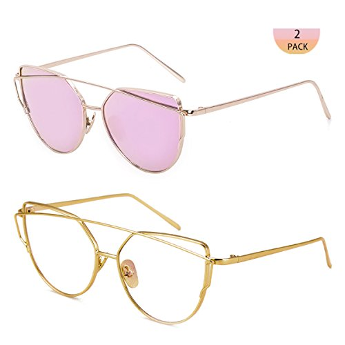 WISH CLUB Women Cat Eye Fashion Sunglasses Mirrored Reflective Flat Lenses Metal Frame UV 400 Sun Glasses for Girls Lightwight Eyewear - Titanium Cheap Glasses