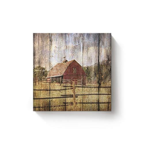 YEHO Art Gallery Square Canvas Wall Art Artwork Office Home Decor for Christmas,Vintage Landscape of Farm Gallery Wrap Pictures,Stretched by Wooden Frame,Ready to Hang,32x32 Inch