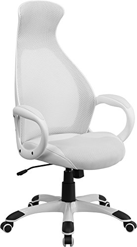 Flash Furniture High Back White Mesh Executive Swivel Office Chair With Leather Seat Insert