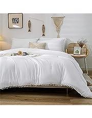 Queen Comforter Sets, Soft Pom Pom Comforter Set 3 Pieces (1 Boho Comforter & 2 Pom Pom Decorative Ball Tassels Pillowcases) Soft Microfiber Fill Bedding