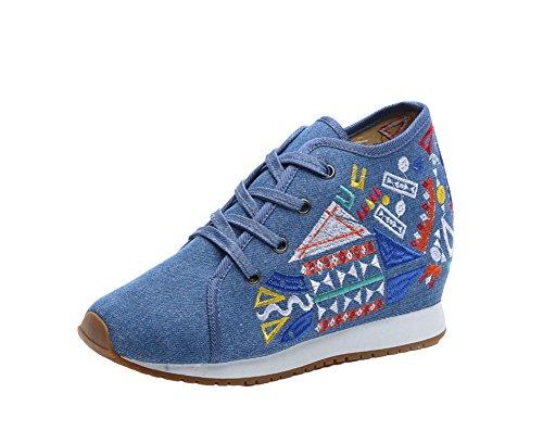 Avacostume Womens Pattern Geometrici Ricamo Scarpe Stringate Blu Moda