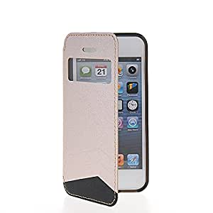 CASEDISCOVER Slim Funda Tapa Flip Cartera Case Carcasa Caso Cuero Cover Para Apple iPhone 5 / 5S Beige