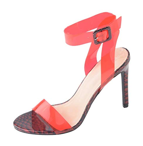 (Womens Clear Open Toe Stiletto High Heel Sandals Ankle Strap Slingback Strappy Heels red PVC Size 9)