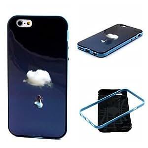 Chica despreocupada 2-en-1 en el TPU patrón de nubes de la contraportada con el tope pc estuche blando a prueba de golpes para el iphone 6