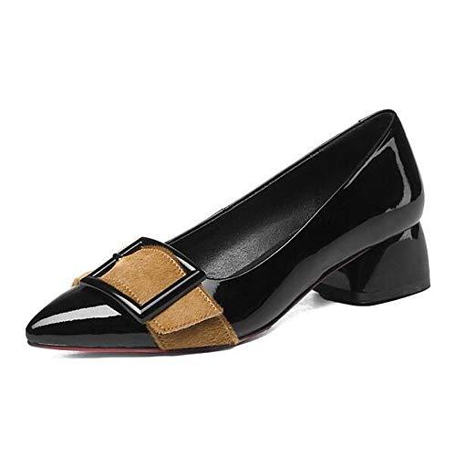ZHZNVX Zapatos de Mujer Nappa Leather Spring Comfort Heels Chunky Heel Black/Almond Black