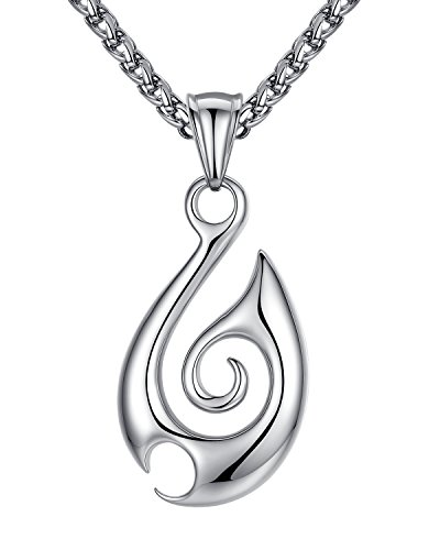 Tribal Design Pendant - Aoiy Stainless Steel Tribal Fire Pendant Necklace, Unisex, 24