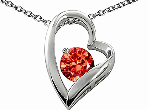 Star K Round 7mm Simulated Orange Mexican Fire Opal Heart Shape Pendant Necklace Sterling Silver