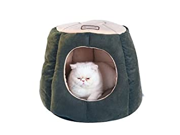 Armarkat Cat Bed, Laurel Green and Beige AERQF C30HML/MH