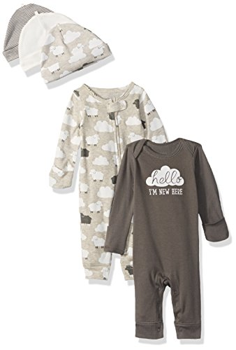 Carter's Baby 5-Piece Coverall and Cap Set, Gray Clouds, Newborn