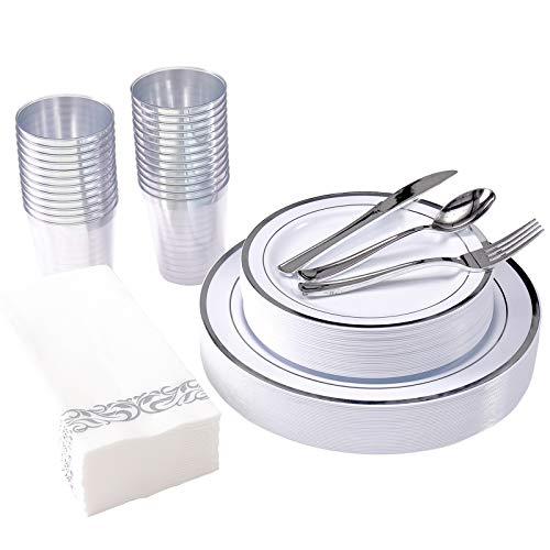 175 Piece Silver Dinnerware Set 25 Guest-50 Silver Rim Plastic Plates-25 Silver Plastic Silverware-25 Silver Plastic…