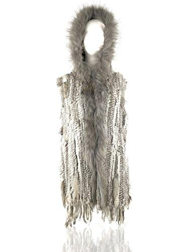 Uilor® 100% natural de las mujeres chaleco de piel de conejo de punto Natural gray