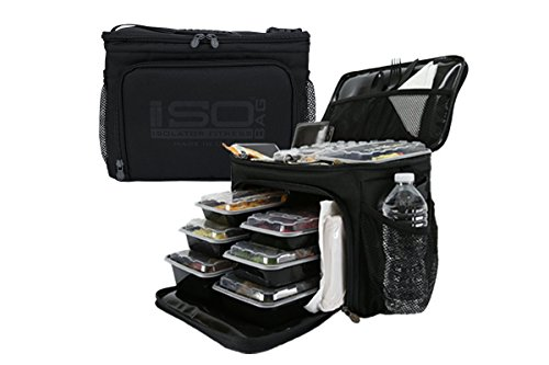 Isolator Fitness 6 Meal ISOCUBE Meal Prep Management Insulated Lunch Bag Cooler with 12 Stackable Meal Prep Containers, 3 ISOBRICKS, and Shoulder Strap - MADE IN USA (Blackout) by Isolator Fitness (Image #2)