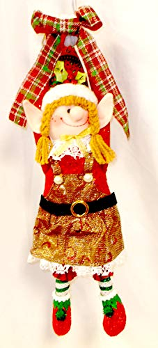 Merry Elf Doorknob Hanger Girl Sparkle Dress Red Gold Christmas Decor 22' NWT