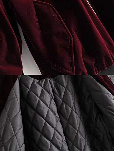 Collo Manica Donna Outerwear Monocromo Bomber Winered Moda Giubbotto Cappotto Sciolto Giacche Invernali Coreana Grezzi Giacca Coat Giovane Elegante Casual Lunga Caldo Velluto Moto pqdwzX0