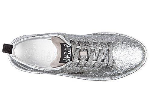 Argent Rebel Sneakers Hogan Chaussures Baskets Cuir Femme en Allacciato r320 zqdFwdxR