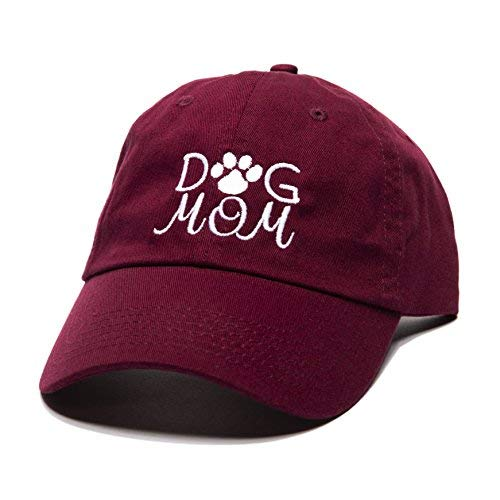 (Beanie Bliss Dog Mom Baseball Cap Embroidered Dad Hat Unstructured Low Profile Adjustable Strap Back (Maroon))