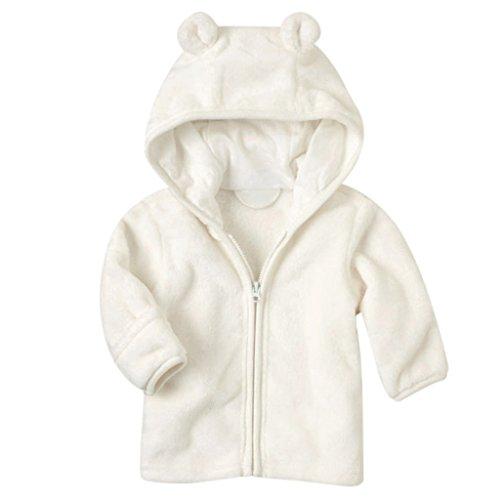 MIOIM Infant Baby Boys Girls Fleece Jacket Adorable Coral Ears Hat Coat Lined Hooded Zipper Up Winter Warm Overcoat