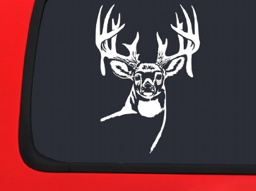 Deer w Antlers Looking Forward - White Hunting window decal sticker