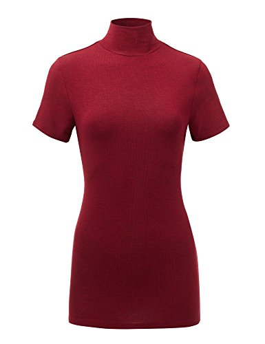 (MBJ WT1581 Womens Short Sleeve Mock Neck Pullover Sweater - Made in USA L Wine)
